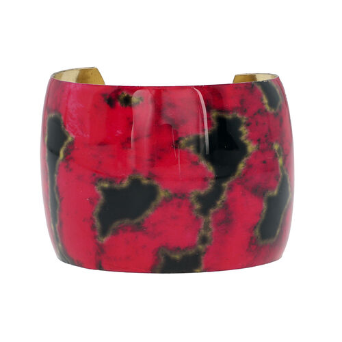 Meena Work Antique Cuff Bangle (Size 7) in Red