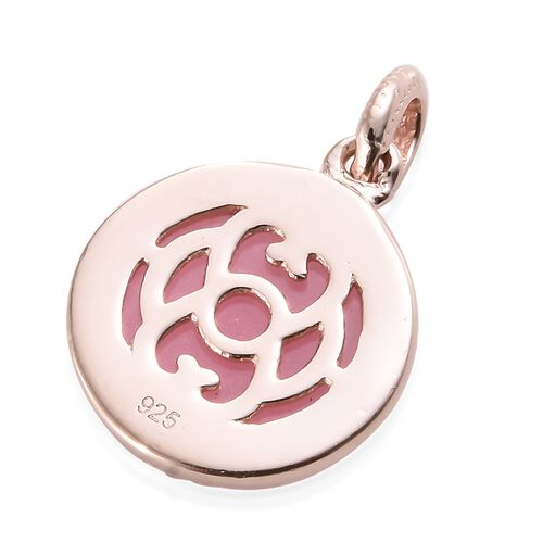 One Time Mega Deal-Pink Jade (Rnd) Pendant in Rose Gold Overlay Sterling Silver 6.500 Ct.