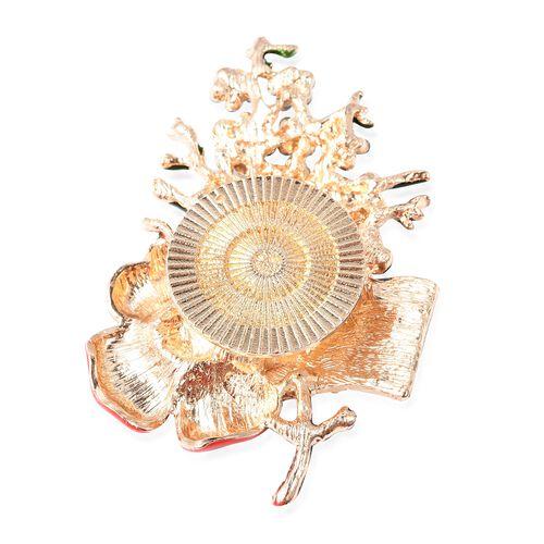 TJC Poppy Design Multi Colour Austrian Crystal Enamelled Poppy Brooch