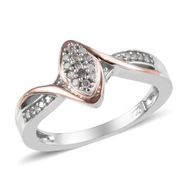 Diamond Cluster Ring in Platinum and Rose Gold Plated Silver 0.10 Ct