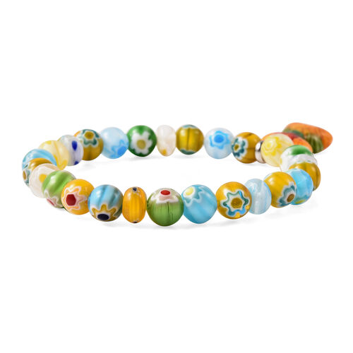 Blue Colour Murano Glass Stretchable Bracelet (Size 6.5) in Stainless Steel