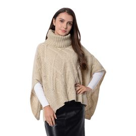 Wave Pattern Poncho with High Neck (Size 90x48x33 Cm) Cream Colour