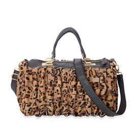 100% Genuine Leather Leopard Pattern and Three Dimensional Wave Cutting Tote Bag with Detachable Sho
