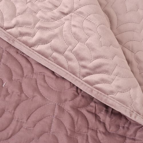 Deluxe Collection - Extremely Soft Short Pile Velvet Quilt with Full Embroidery in Dusky Rose Colour (Size 260x240 Cm)