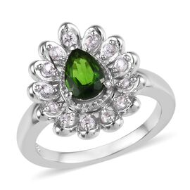 Russian Diopside (Pear), Natural Cambodian Zircon Ring in Platinum Overlay Sterling Silver 1.00 Ct,