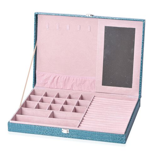 Croc Embossed Jewellery Boxes with Inside Mirror (Size 40x28x5.5 Cm) - Teal Colour