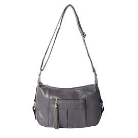 100% Genuine Leather Solid Grey Crossbody Bag with Tassel and Adjustable Strap (29x10x21cm)
