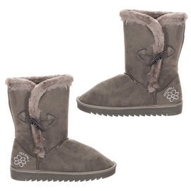 GURU Womens Winter Fluffy Ankle Boots with Button Closure (Size 7) - Grey
