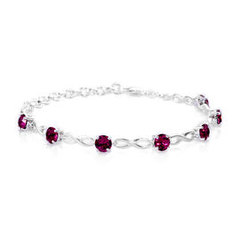 J Francis Crystal from Swarovski - Fuchsia Colour Crystal (Rnd) Bracelet (Size 6.5 with 1.5 Inch Extender) in Sterling Silver, Silver Wt. 6.75 Gms