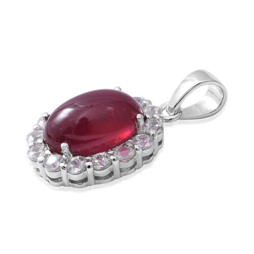 Extremely Rare Size African Ruby (Ovl 15x10mm, 11.32 Ct), Natural Cambodian Zircon Pendant in Rhodium Overlay Sterling Silver 13.700 Ct.