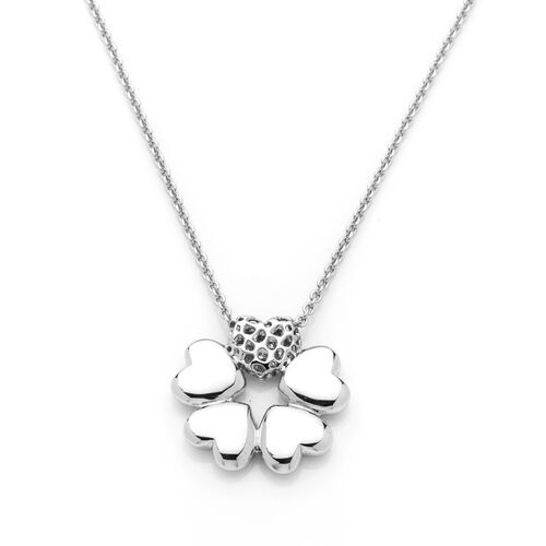 RACHEL GALLEY Rhodium Plated Sterling Silver Heart Flower Necklace (Size 30), Silver wt 12.00 Gms.
