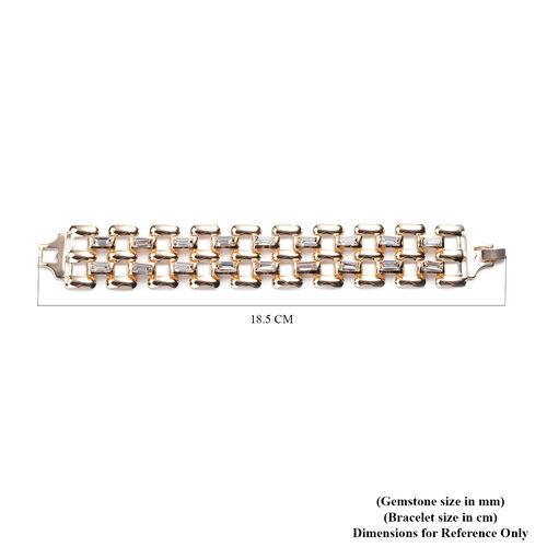Simulated Diamond Bracelet (Size 7.25) in Gold Tone