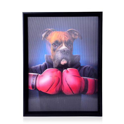 Wall Decor - Dog Framed 4D Wall Painting (Size 41x31.15x2 Cm)