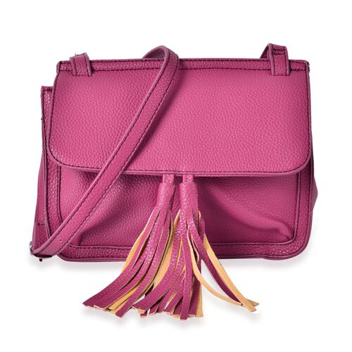 Dark Fuchsia Colour Crossbody Bag with Adjustable Shoulder Strap and Tassels (Size 22.5x18x10 Cm)