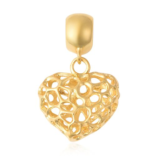 RACHEL GALLEY Amore Heart Charm or Pendant in Gold Plated Silver