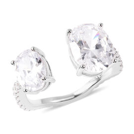 Simulated Diamond Ring in Rhodium Overlay Sterling Silver