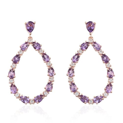 Rose De France Amethyst (Pear), Natural Cambodian Zircon Drop Earrings (with Push Back) in Rose Gold Overlay Sterling Silver 10.250 Ct. Silver wt 9.43 Gms.