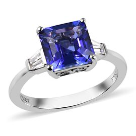 RHAPSODY 950 Platinum AAAA Tanzanite and Diamond (VS/E-F) Ring 3.00 Ct, Platinum wt. 4.50 Gms