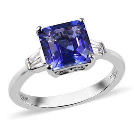 RHAPSODY 950 Platinum AAAA Tanzanite and Diamond (VS/E-F) Ring 3.00 Ct, Platinum wt. 4.50 Gms