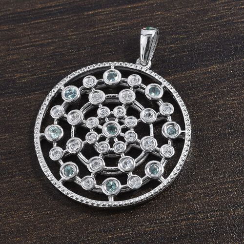 Alexandrite and Natural Cambodian Zircon Pendant in Platinum Overlay Sterling Silver 0.84 Ct.