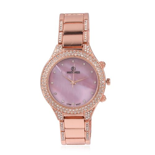STRADA Japanese Movement Water Resistant White Austrian Crystal Studded Watch in Rose Gold Plated St