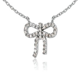 Cubic Zirconia Bow Necklace in Sterling Silver 16 with 2 inch Extender