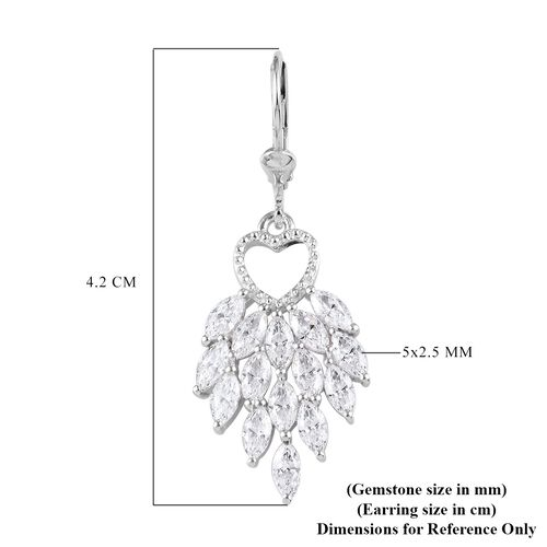 J Francis Platinum Overlay Sterling Silver Lever Back Dangle Earrings made with SWAROVSKI ZIRCONIA 6.45 Ct.
