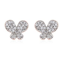 J-Francis Rose Gold Overlay Sterling Silver Cluster Butterfly Earrings (with Push Back) Made with SW