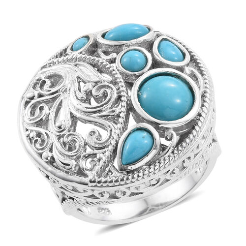 Arizona Sleeping Beauty Turquoise (Rnd) Ring in Platinum Overlay Sterling Silver 2.500 Ct. Silver wt