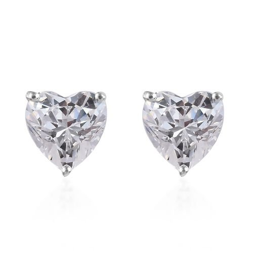 J Francis Made with SWAROVSKI ZIRCONIA Heart Stud Earrings in Sterling Silver