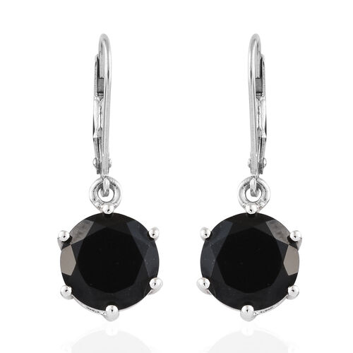 Black Tourmaline (Rnd) Lever Back Earrings in Platinum Overlay Sterling Silver 7.500 Ct.