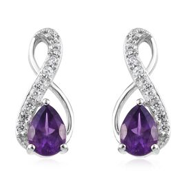 Amethyst (Pear), Natural Cambodian Zircon Earrings (with Push Back) in Platinum Overlay Sterling Sil
