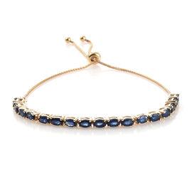 9K Yellow Gold AA Kanchanaburi Blue Sapphire (Ovl) Adjustable Bracelet (Size 6.5 to 9.5) 4.750 Ct, G