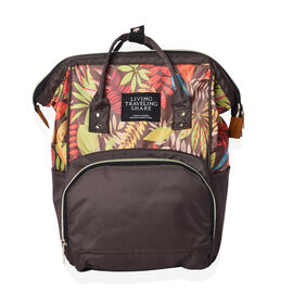 Multi Pocket Backpack with Zipper Closure and Adjustable Shoulder Strap (Size 36x12x27 Cm) - Brown a