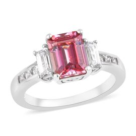 J Francis Made with Pink and White SWAROVSKI ZIRCONIA Classic Ring in Platinum Plated Silver