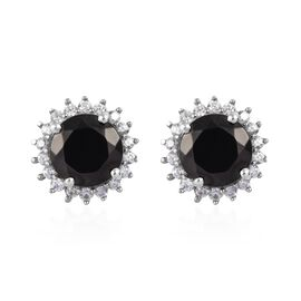 4.50 Ct Elite Shungite and Cambodian Zircon Stud Halo Earring in Platinum Plated Sterling Silver