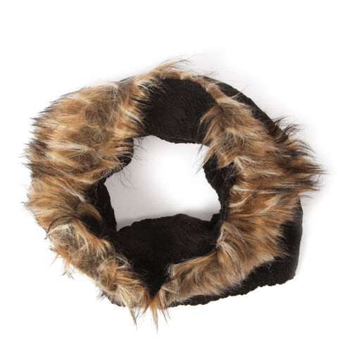 Acrylic Black Colour Neck Scarf with Faux Fur Collar (Free Size)