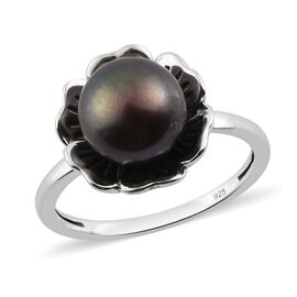Freshwater Peacock Pearl Floral Ring in Sterling Silver