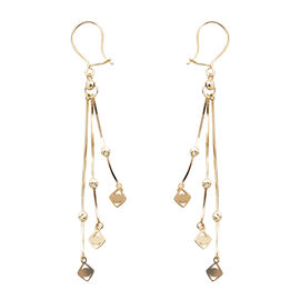 Royal Bali Collection Diamond Cut Three Strand Earrings with Hook in 9K Yellow Gold