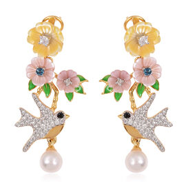 JARDIN COLLECTION -Freshwater White Pearl, Pink and Yellow Mother of Pearl and Multi Gemstone Floral and Hummingbird  Earrings (with French Clasp) in Rhodium and Gold Overlay Sterling Silver 6.26 Gms