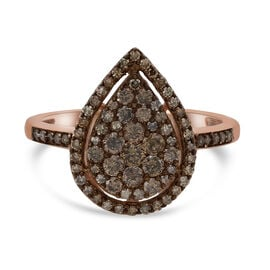 9K Rose Gold  Champagne SGl Certified Diamond Ring  1.00 Ct,