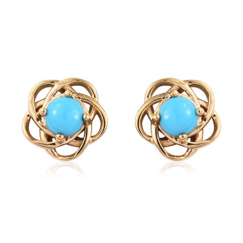 1 Carat AA Arizona Sleeping Beauty Turquoise Solitaire Stud Earrings in Gold Plated Sterling Silver