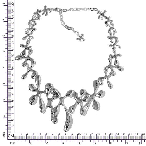 LucyQ SPLASH Necklace (Size 16 with 4 inch Extender) in Rhodium Plated Sterling Silver 76.57 Gms.