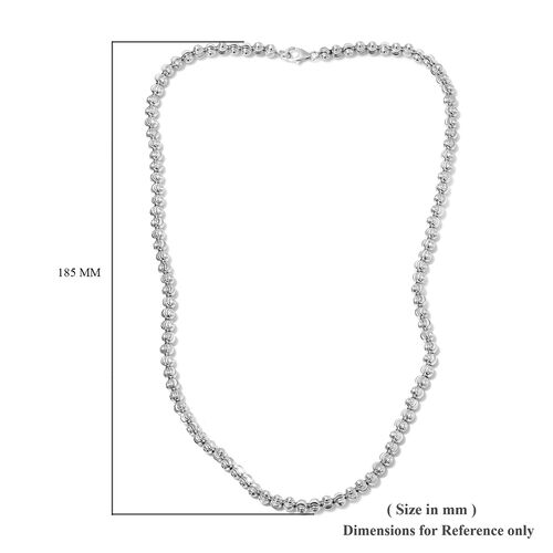 Platinum Overlay Sterling Silver Diamond Cut Beads Necklace (Size 20), Silver wt 15.50 Gms