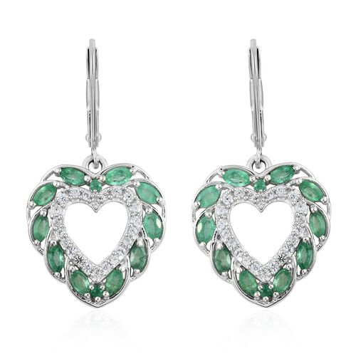 Kagem Zambian Emerald (Mrq), Natural Cambodian Zircon Heart Lever Back Earrings in Platinum Overlay
