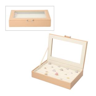 Portable Anti Tarnish Lining Jewellery Box with Glass Window (Size:26.7x17.8x5.5Cm) - Beige