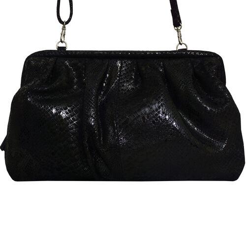 ASSOTS LONDON Genuine Leather Snake Print Oversized Clutch Bag with Adjustable Shoulder Strap (Size 29x21x3cm) - Black