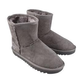 GURU Womens Winter Suede Fluffy Ankle Boots Grey