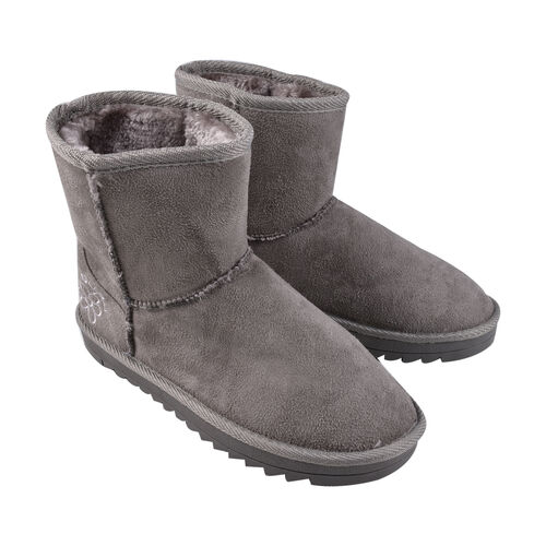 GURU Womens Winter Suede Fluffy Ankle Boots (Size 5) - Grey
