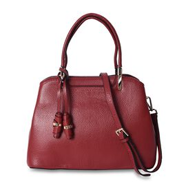 100% Genuine Leather Tote Bag with Detachable Shoulder Strap (Size 29.5x22.5x12 Cm) - Red